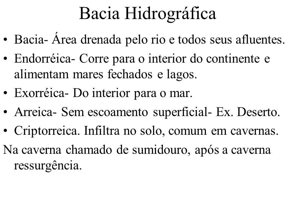 Bacia Hidrográfica Bacia- Área drenada pelo rio e todos seus afluentes.
