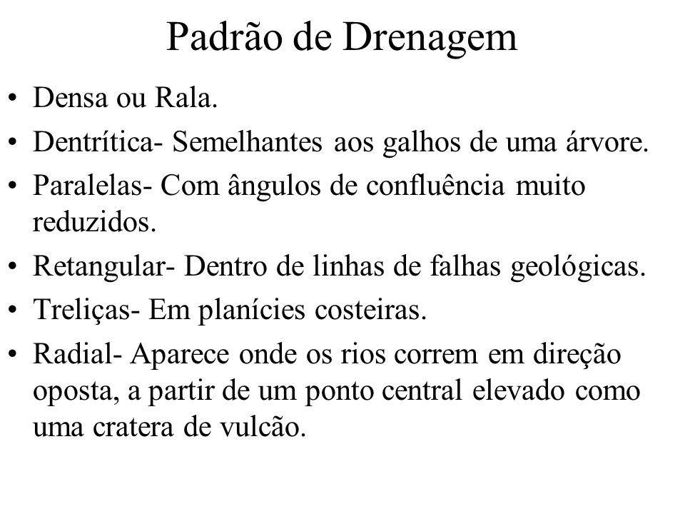 Padrão de Drenagem Densa ou Rala.