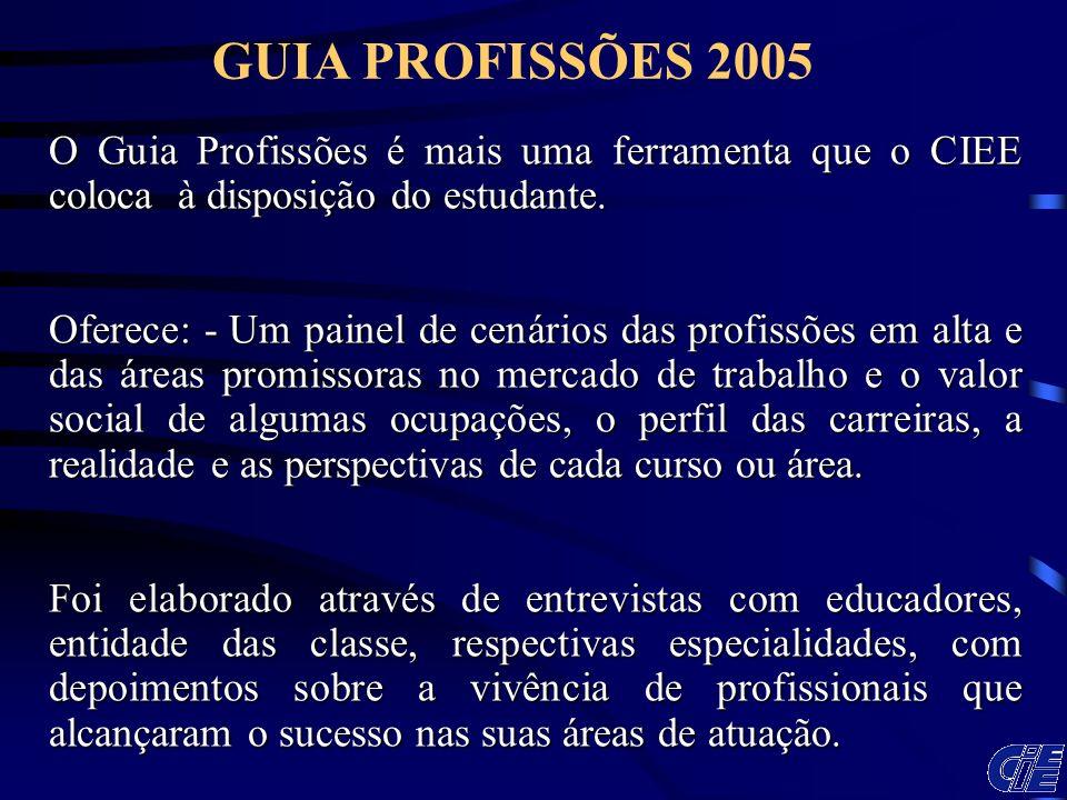 GUIA PROFISSÕES 2005 O Guia Profissões é mais uma ferramenta que o CIEE coloca à disposição do estudante.