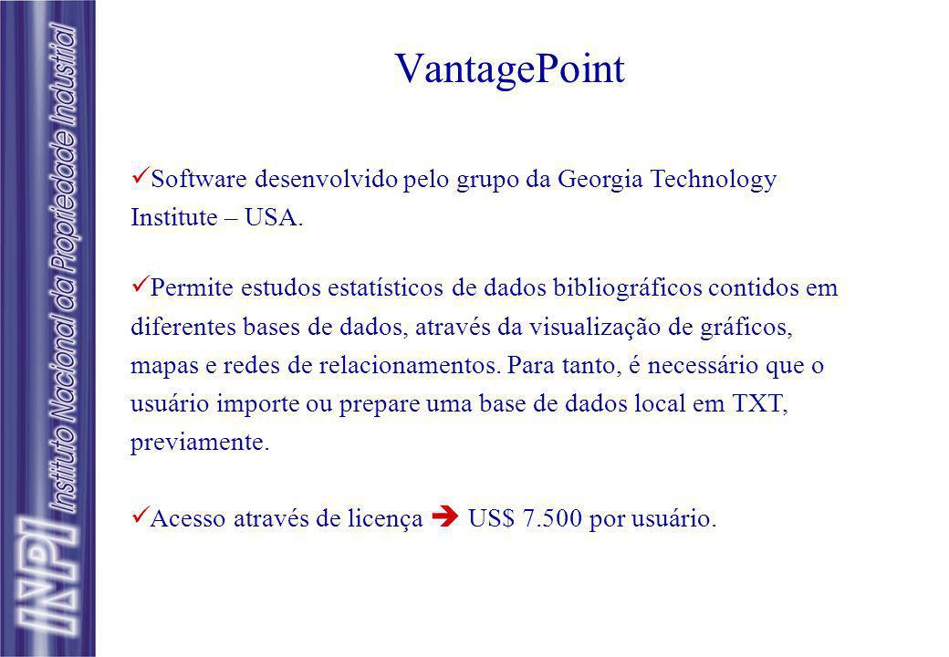 VantagePoint Software desenvolvido pelo grupo da Georgia Technology Institute – USA.