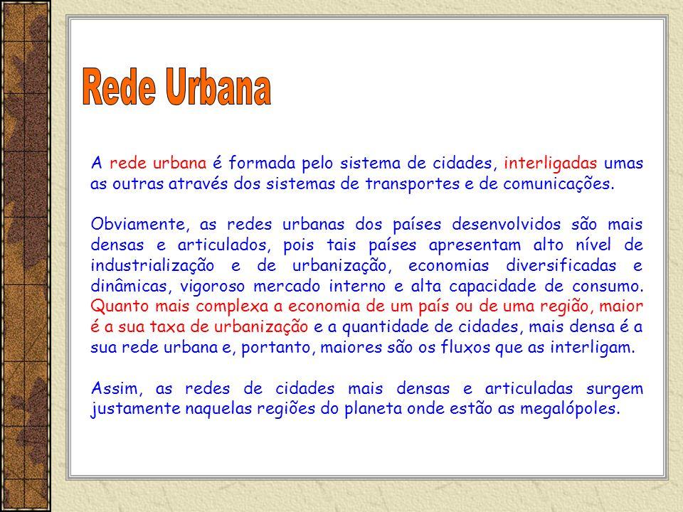 Rede Urbana A rede urbana é formada pelo sistema de cidades, interligadas umas as outras através dos sistemas de transportes e de comunicações.