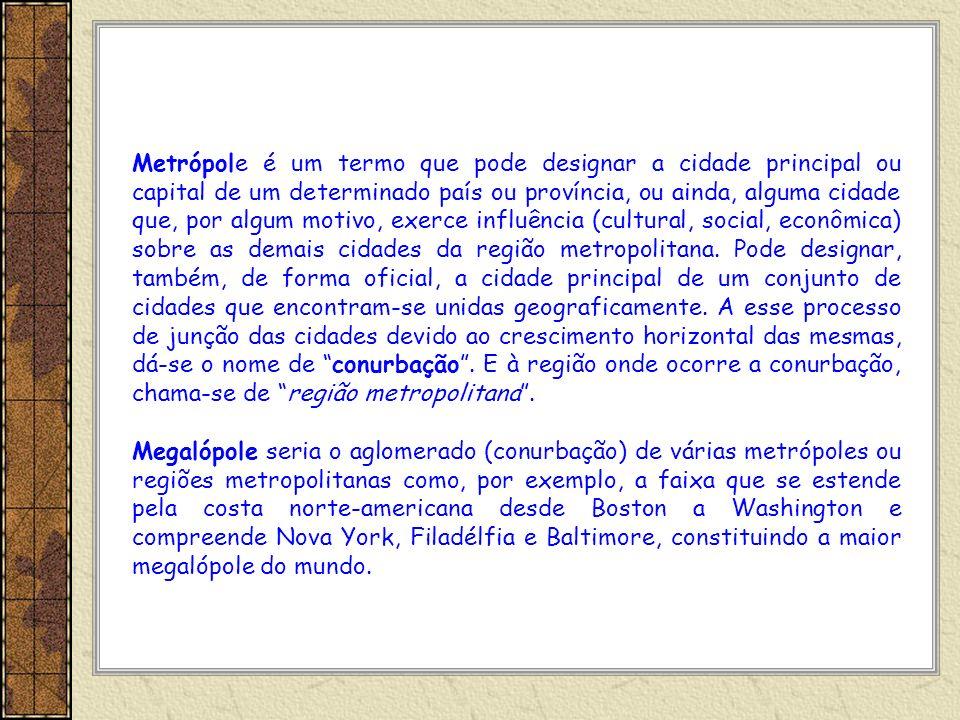 Metrópole é um termo que pode designar a cidade principal ou capital de um determinado país ou província, ou ainda, alguma cidade que, por algum motivo, exerce influência (cultural, social, econômica) sobre as demais cidades da região metropolitana. Pode designar, também, de forma oficial, a cidade principal de um conjunto de cidades que encontram-se unidas geograficamente. A esse processo de junção das cidades devido ao crescimento horizontal das mesmas, dá-se o nome de conurbação . E à região onde ocorre a conurbação, chama-se de região metropolitana .