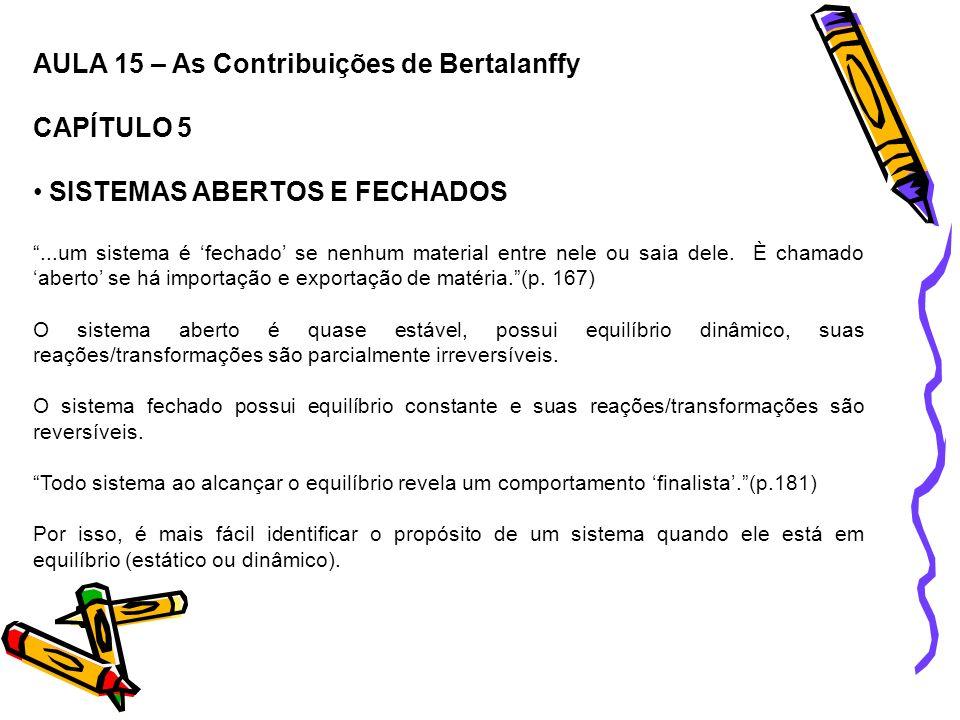 AULA 15 – As Contribuições de Bertalanffy CAPÍTULO 5