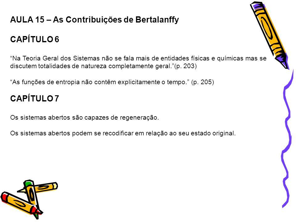 AULA 15 – As Contribuições de Bertalanffy CAPÍTULO 6