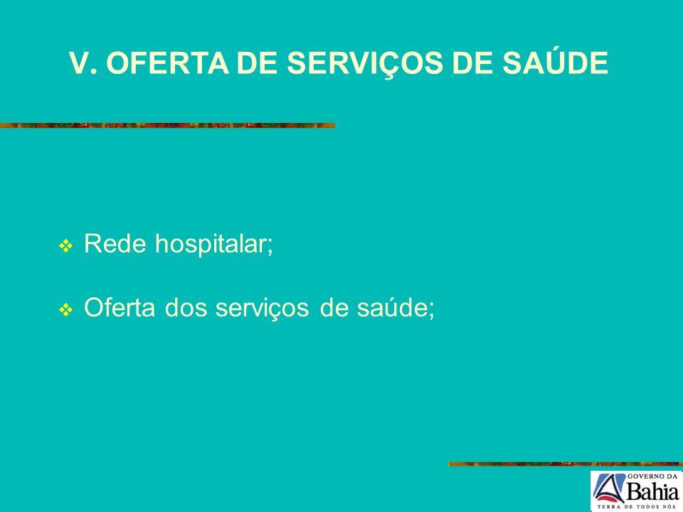 V. OFERTA DE SERVIÇOS DE SAÚDE