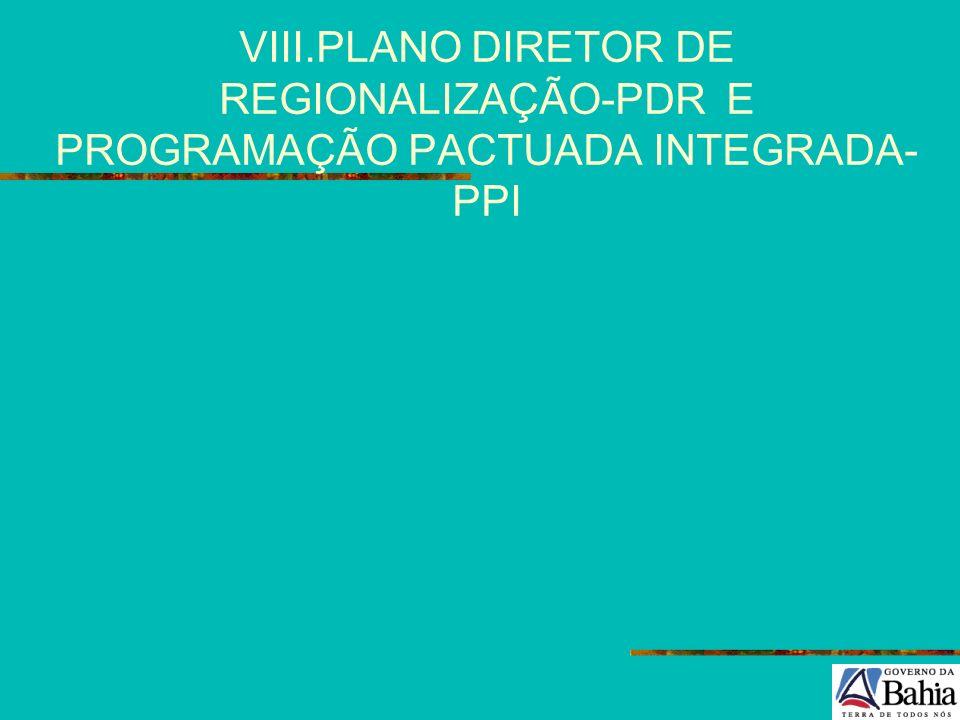 VIII.PLANO DIRETOR DE REGIONALIZAÇÃO-PDR E PROGRAMAÇÃO PACTUADA INTEGRADA-PPI