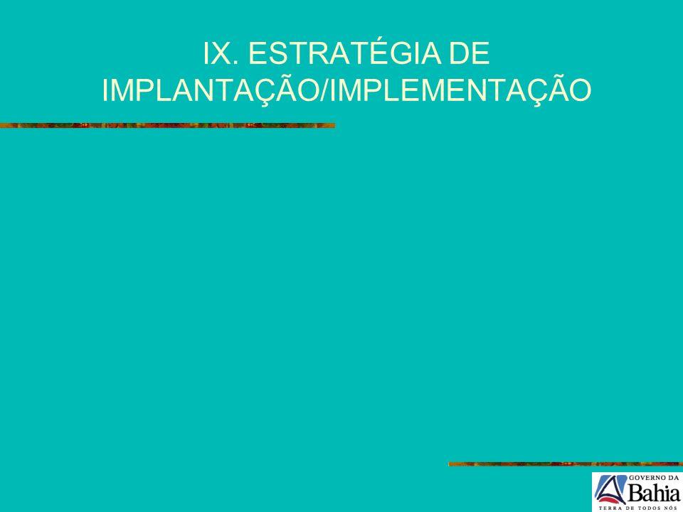 IX. ESTRATÉGIA DE IMPLANTAÇÃO/IMPLEMENTAÇÃO
