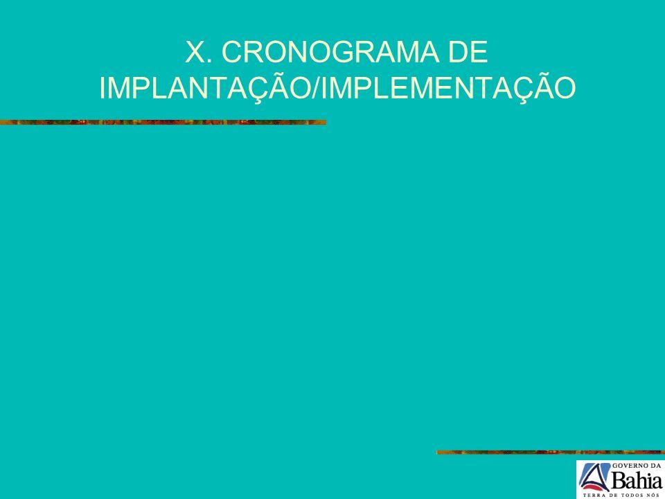X. CRONOGRAMA DE IMPLANTAÇÃO/IMPLEMENTAÇÃO
