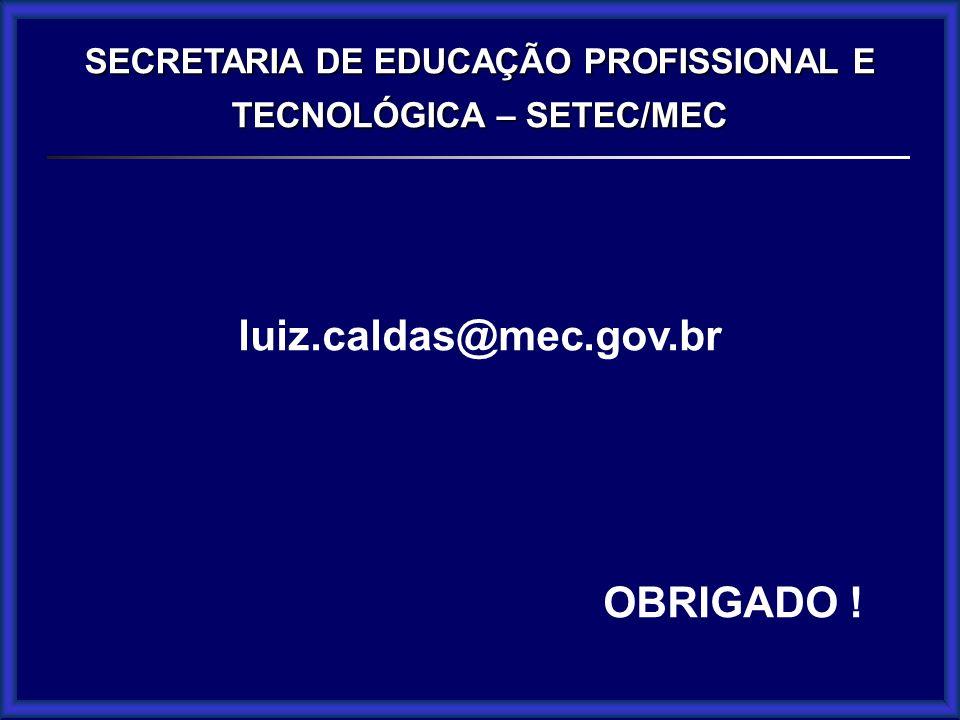 SECRETARIA DE EDUCAÇÃO PROFISSIONAL E TECNOLÓGICA – SETEC/MEC