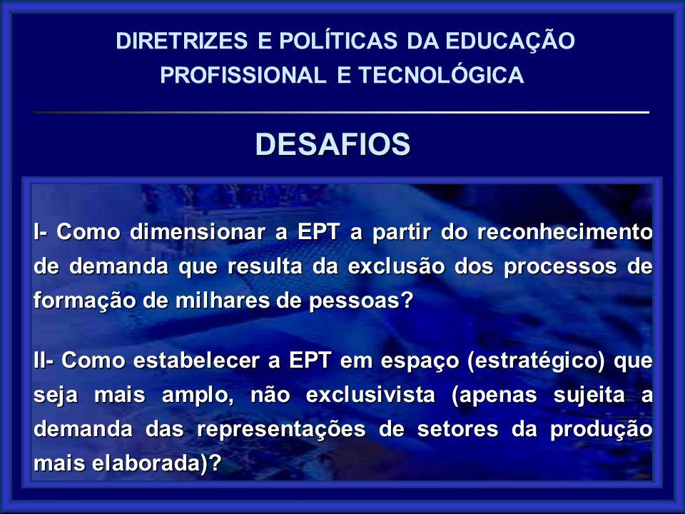 DESAFIOS DIRETRIZES E POLÍTICAS DA EDUCAÇÃO PROFISSIONAL E TECNOLÓGICA