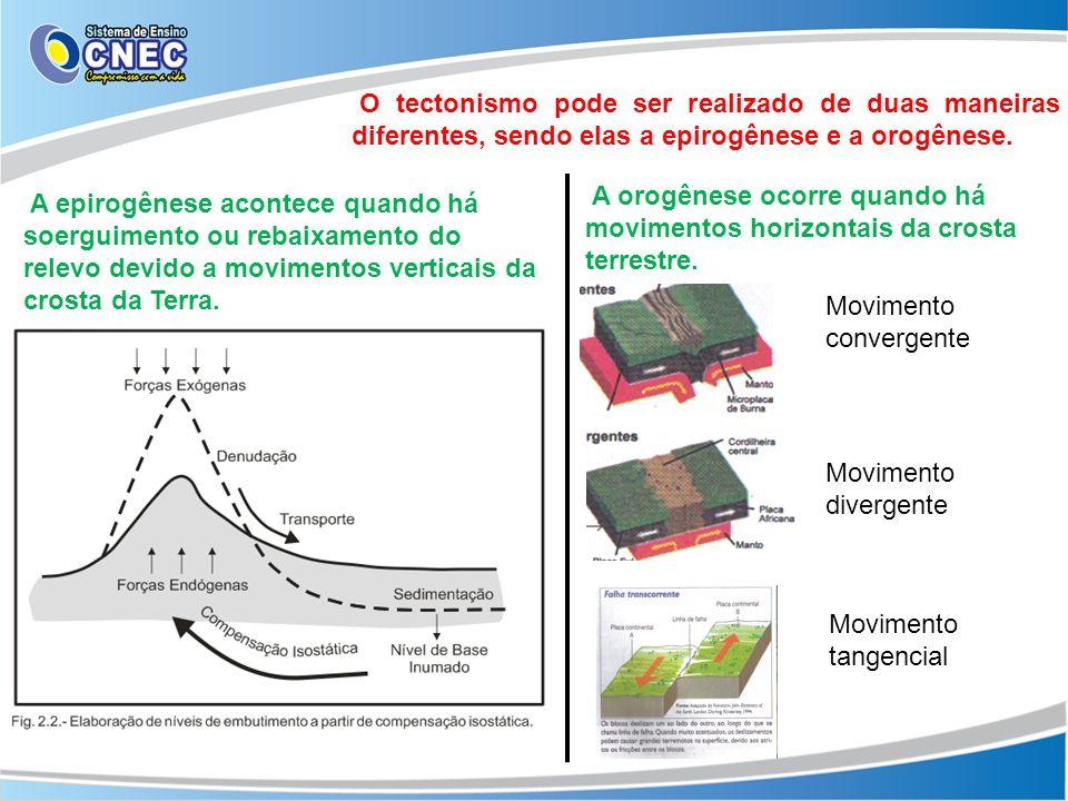 O tectonismo pode ser realizado de duas maneiras diferentes, sendo elas a epirogênese e a orogênese.