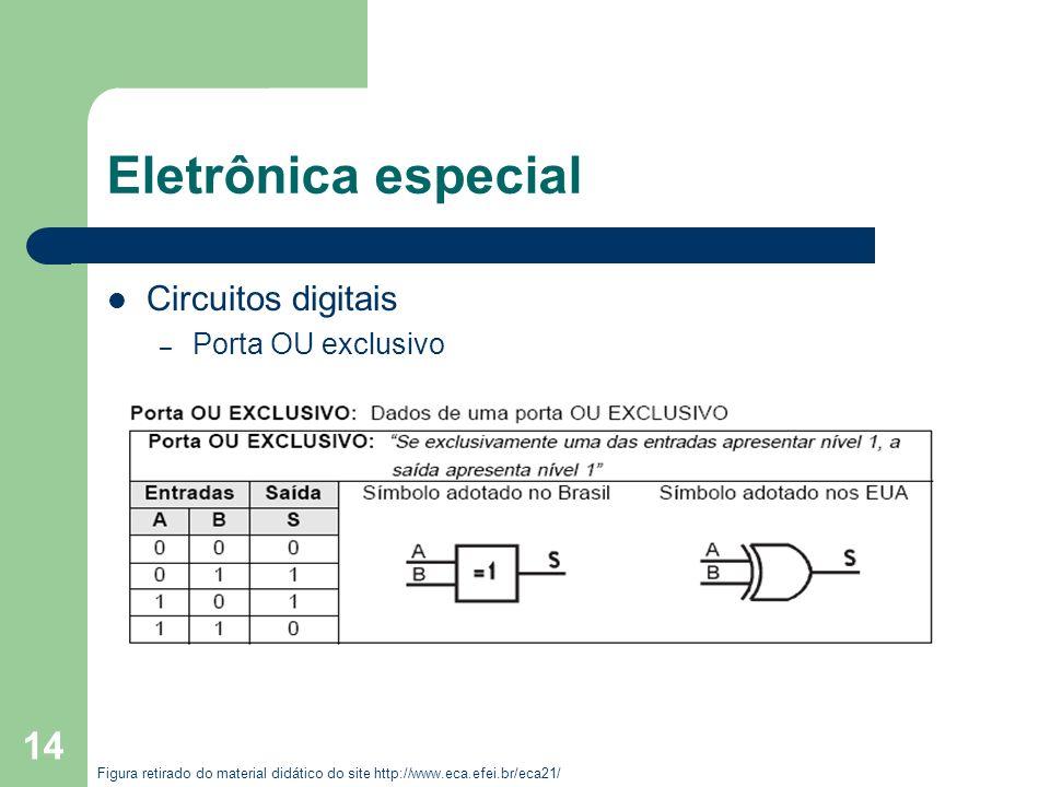 Eletrônica especial Circuitos digitais Porta OU exclusivo