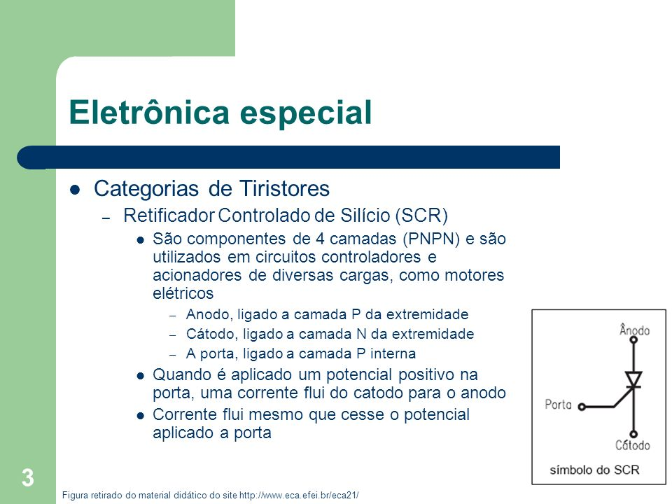 Eletrônica especial Categorias de Tiristores