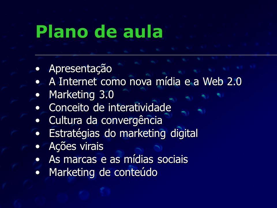 Plano de aula Apresentação A Internet como nova mídia e a Web 2.0