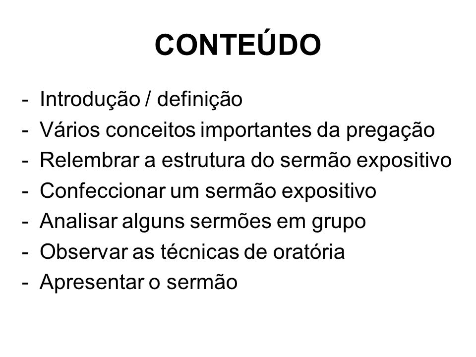 CONTEÚDO Introdução / definição
