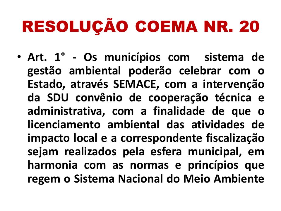 RESOLUÇÃO COEMA NR. 20