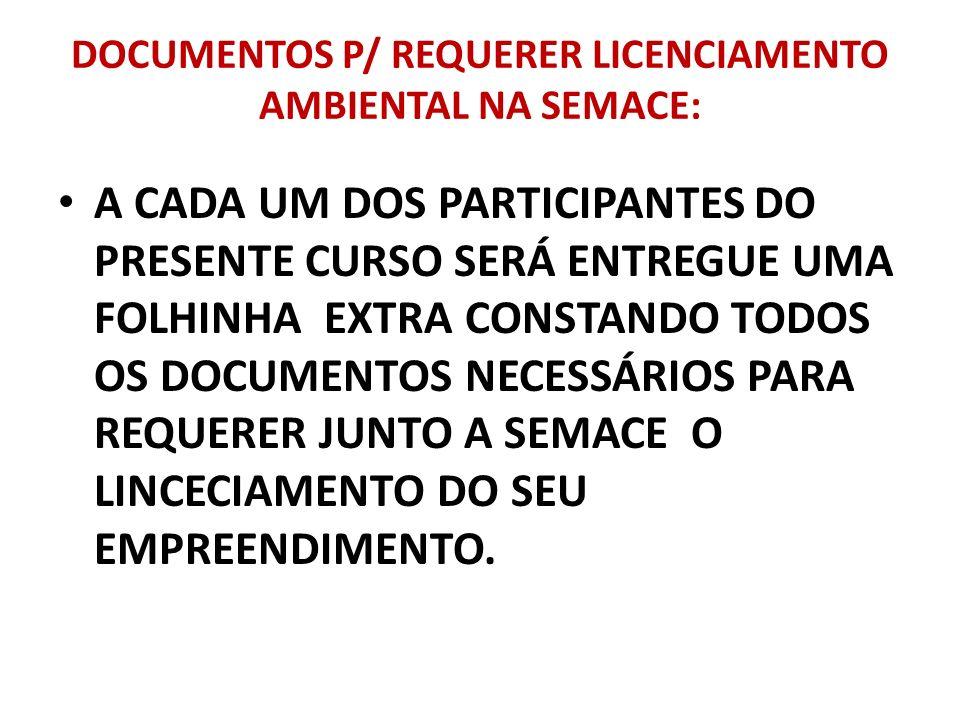 DOCUMENTOS P/ REQUERER LICENCIAMENTO AMBIENTAL NA SEMACE: