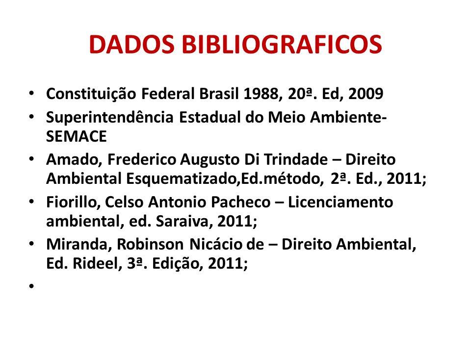 DADOS BIBLIOGRAFICOS Constituição Federal Brasil 1988, 20ª. Ed, 2009