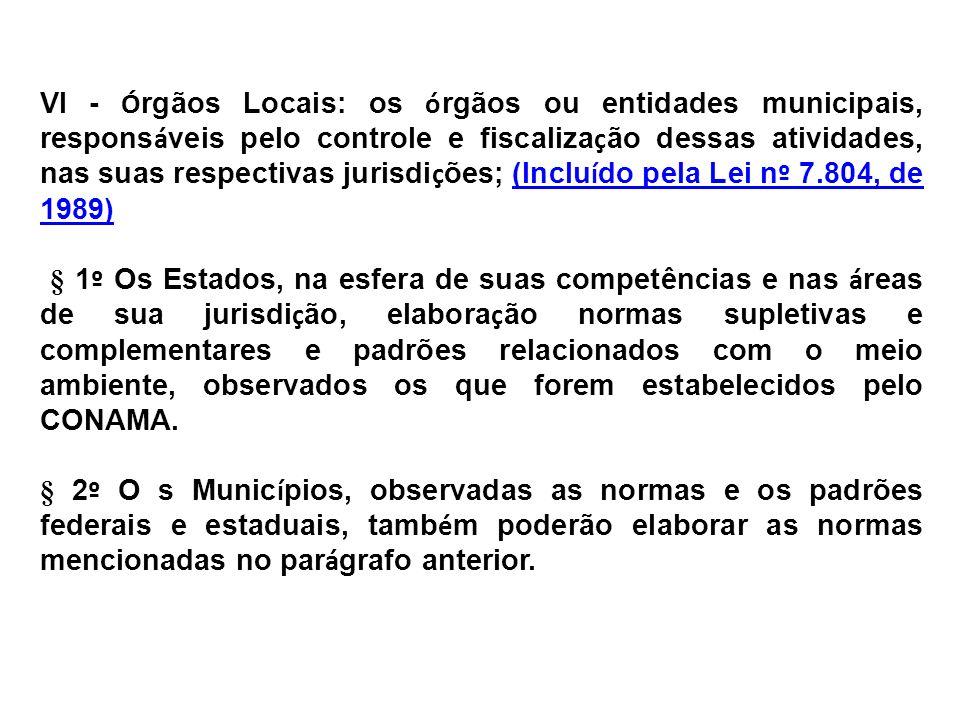 VI - Órgãos Locais: os órgãos ou entidades municipais, responsáveis pelo controle e fiscalização dessas atividades, nas suas respectivas jurisdições; (Incluído pela Lei nº 7.804, de 1989)