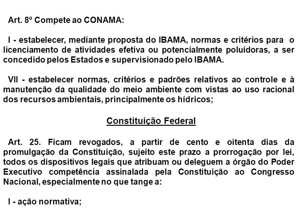 Constituição Federal Art. 8º Compete ao CONAMA: