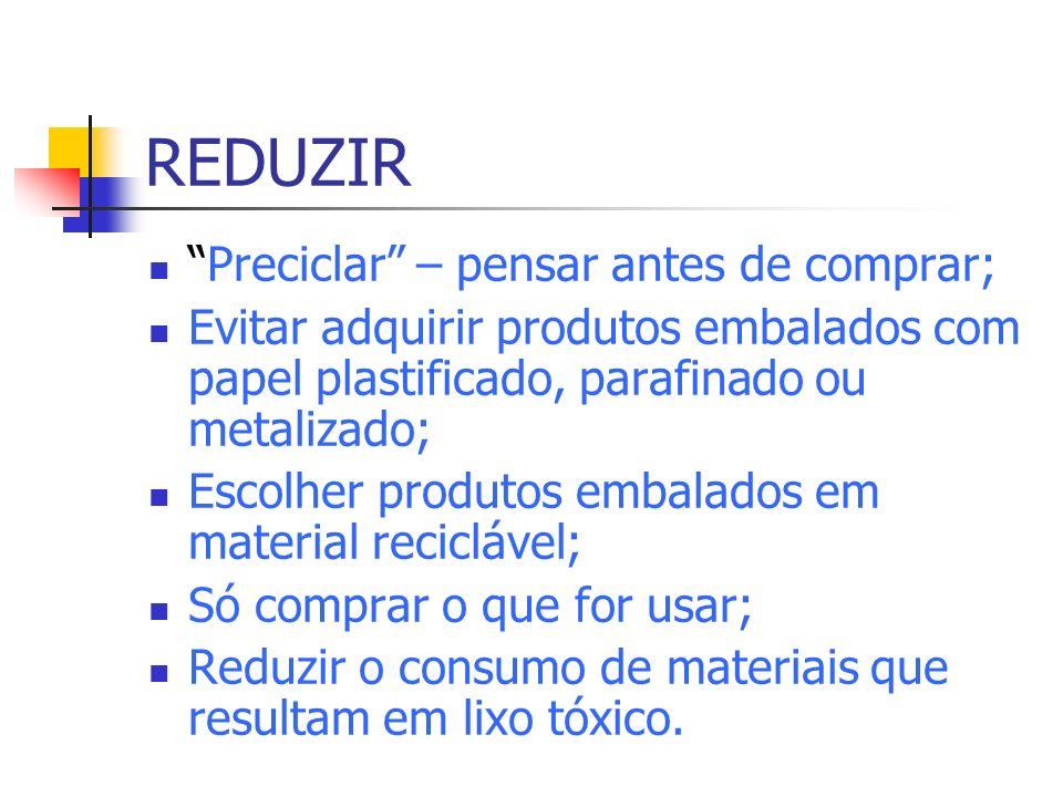 REDUZIR Preciclar – pensar antes de comprar;