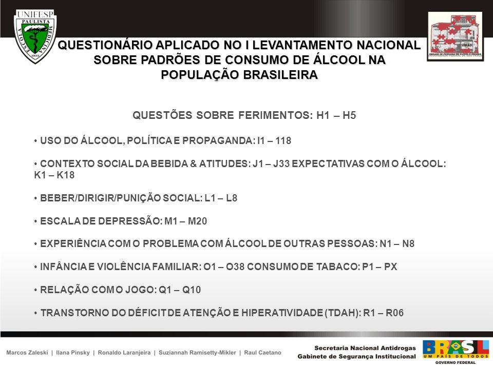 QUESTIONÁRIO APLICADO NO I LEVANTAMENTO NACIONAL SOBRE PADRÕES DE CONSUMO DE ÁLCOOL NA POPULAÇÃO BRASILEIRA