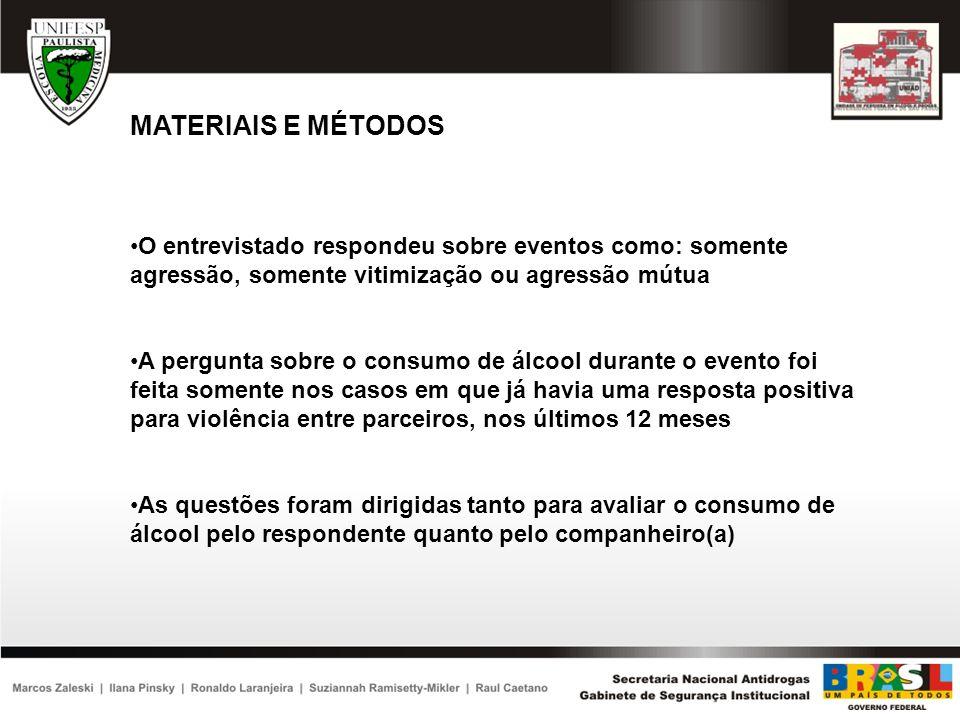 MATERIAIS E MÉTODOSO entrevistado respondeu sobre eventos como: somente agressão, somente vitimização ou agressão mútua.