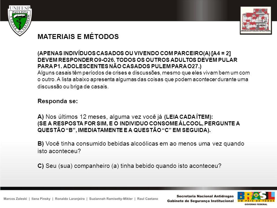 MATERIAIS E MÉTODOS Responda se: