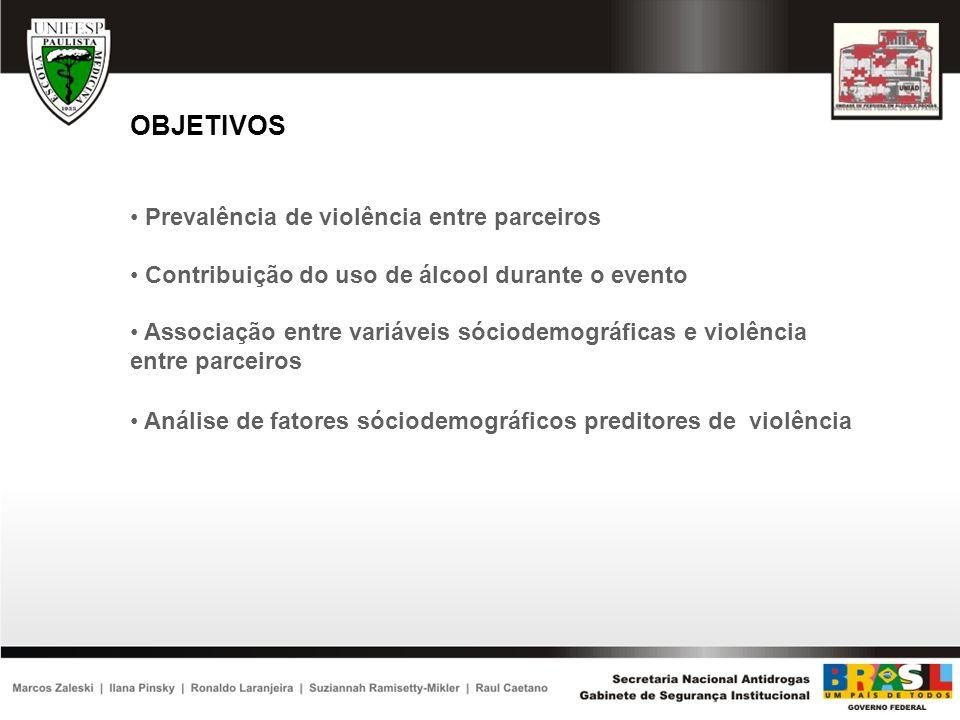 OBJETIVOS Prevalência de violência entre parceiros