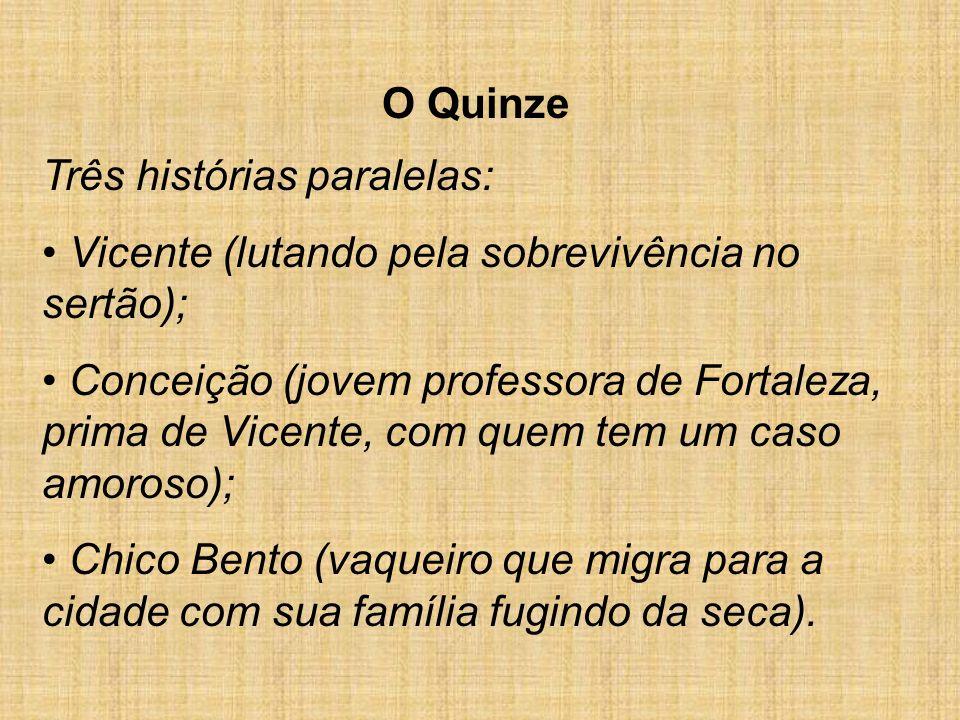 O QuinzeTrês histórias paralelas: Vicente (lutando pela sobrevivência no sertão);