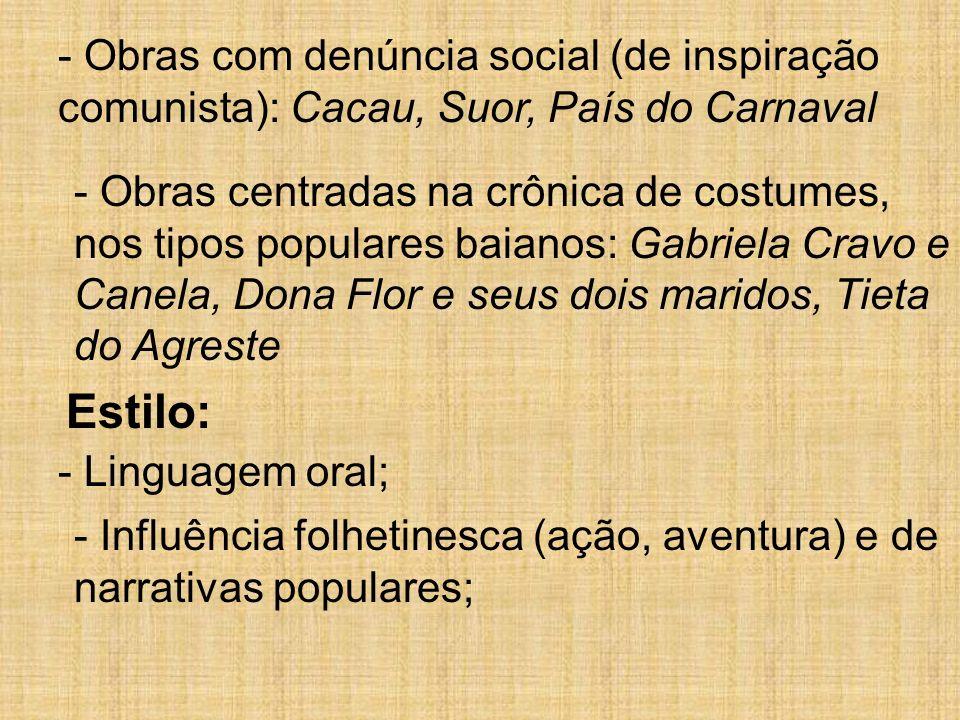 - Obras com denúncia social (de inspiração comunista): Cacau, Suor, País do Carnaval