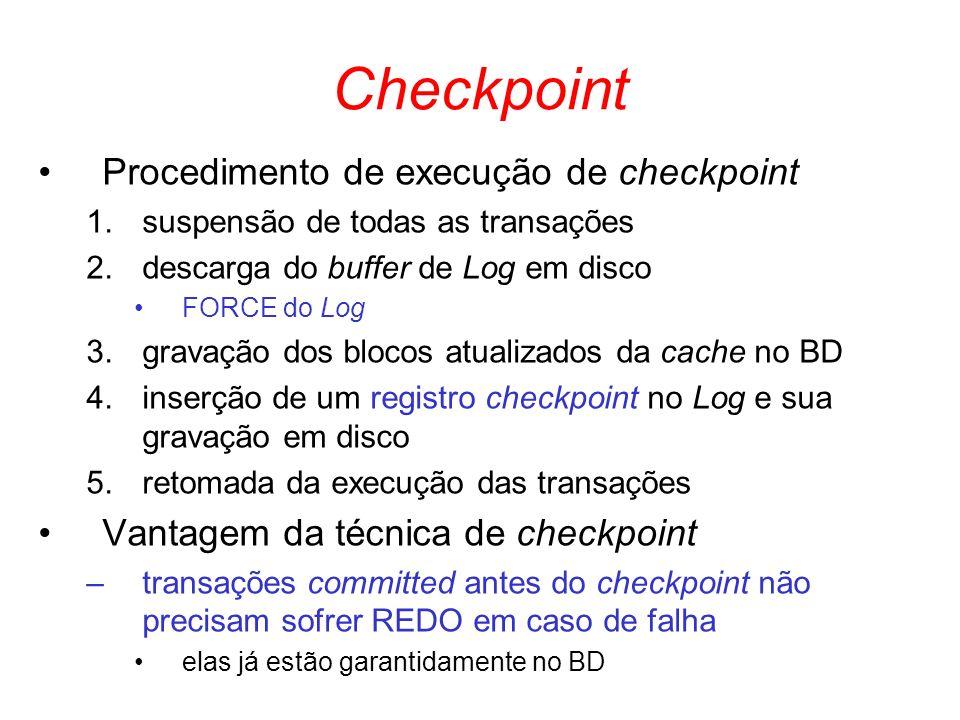 Checkpoint Procedimento de execução de checkpoint