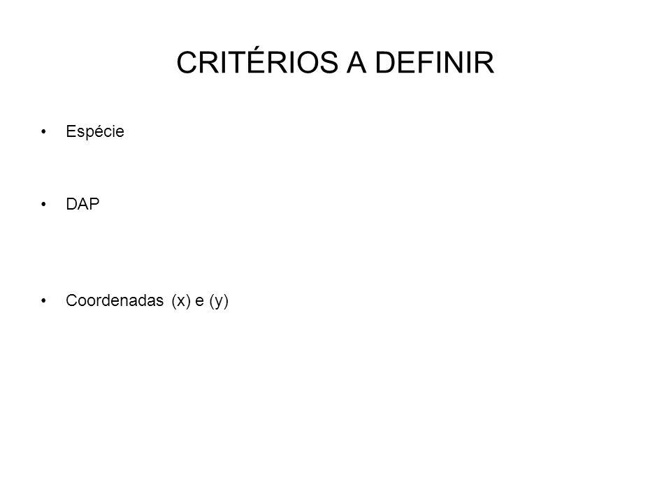 CRITÉRIOS A DEFINIR Espécie DAP Coordenadas (x) e (y)