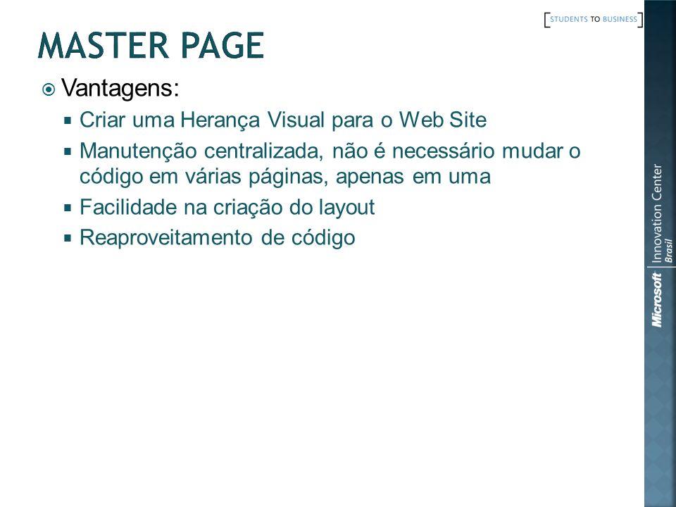 MASTER PAGE Vantagens: Criar uma Herança Visual para o Web Site