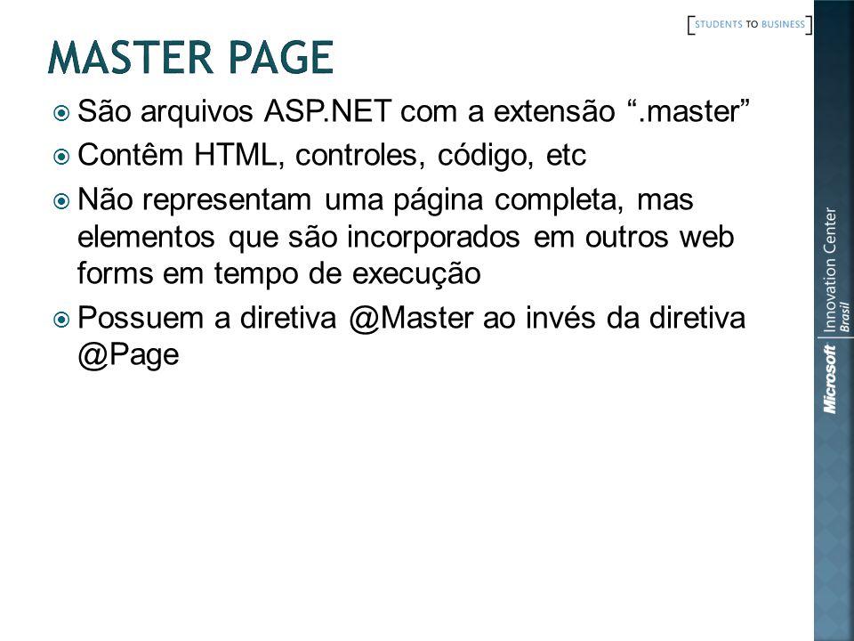 Master Page São arquivos ASP.NET com a extensão .master