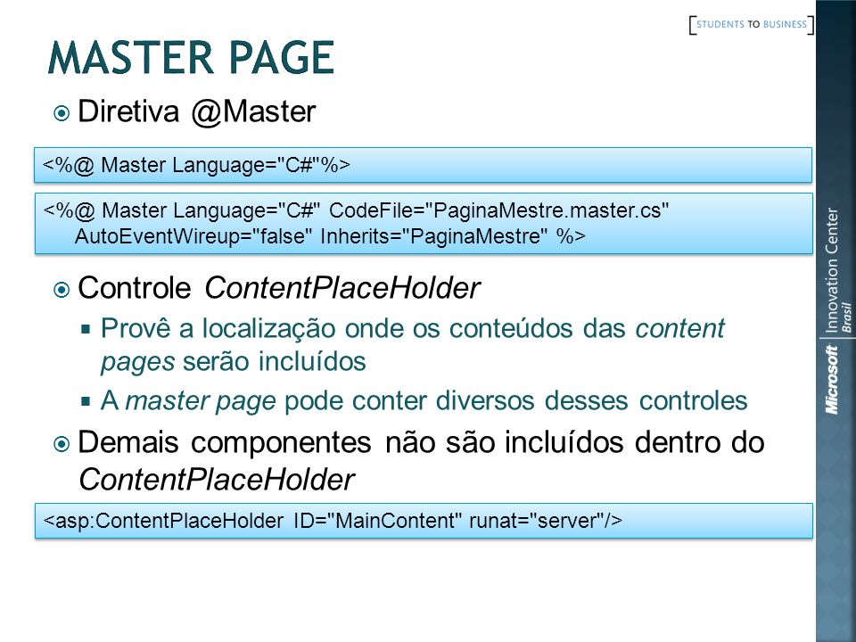 Master Page Diretiva @Master Controle ContentPlaceHolder
