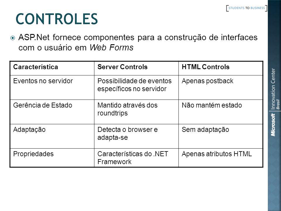 Controles ASP.Net fornece componentes para a construção de interfaces com o usuário em Web Forms. Característica.