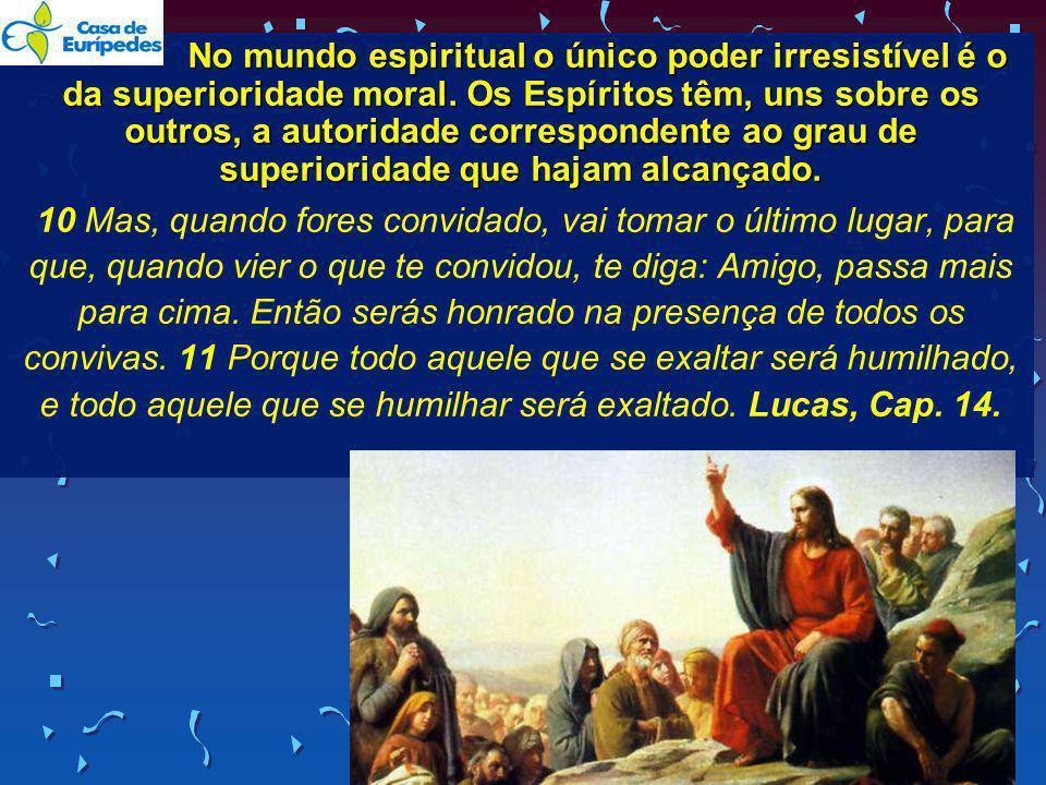 No mundo espiritual o único poder irresistível é o da superioridade moral. Os Espíritos têm, uns sobre os outros, a autoridade correspondente ao grau de superioridade que hajam alcançado.