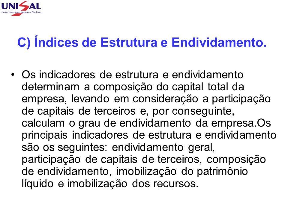 C) Índices de Estrutura e Endividamento.