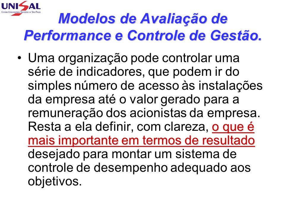 Modelos de Avaliação de Performance e Controle de Gestão.