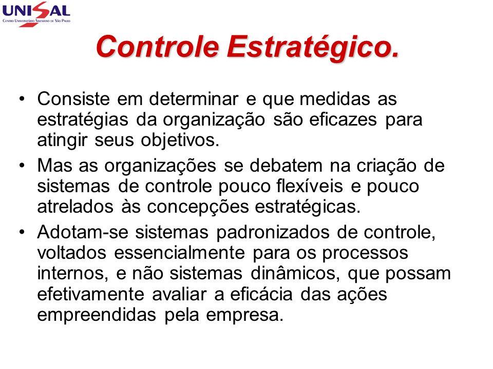 Controle Estratégico. Consiste em determinar e que medidas as estratégias da organização são eficazes para atingir seus objetivos.