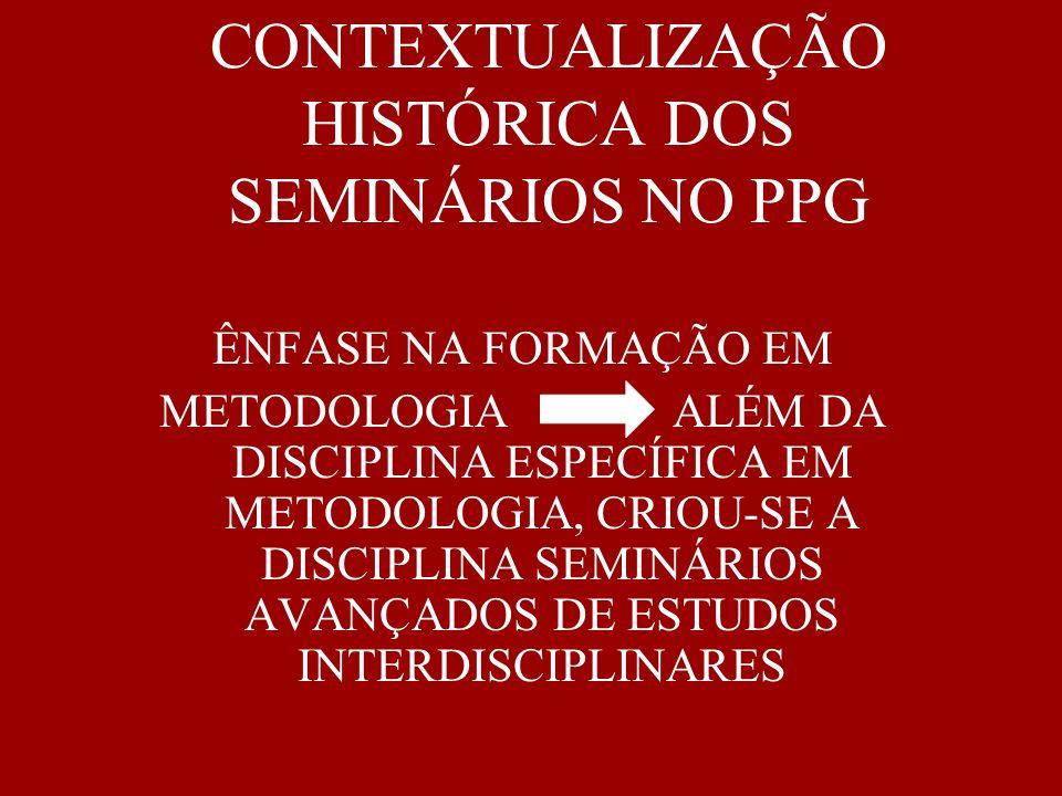 CONTEXTUALIZAÇÃO HISTÓRICA DOS SEMINÁRIOS NO PPG