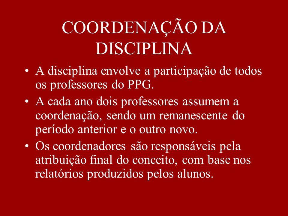 COORDENAÇÃO DA DISCIPLINA