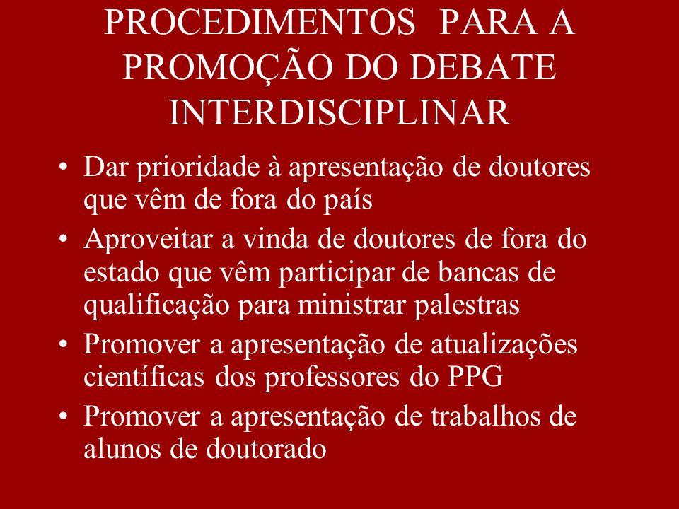 PROCEDIMENTOS PARA A PROMOÇÃO DO DEBATE INTERDISCIPLINAR