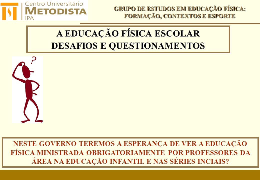A EDUCAÇÃO FÍSICA ESCOLAR DESAFIOS E QUESTIONAMENTOS