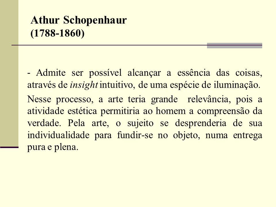 Athur Schopenhaur (1788-1860)- Admite ser possível alcançar a essência das coisas, através de insight intuitivo, de uma espécie de iluminação.