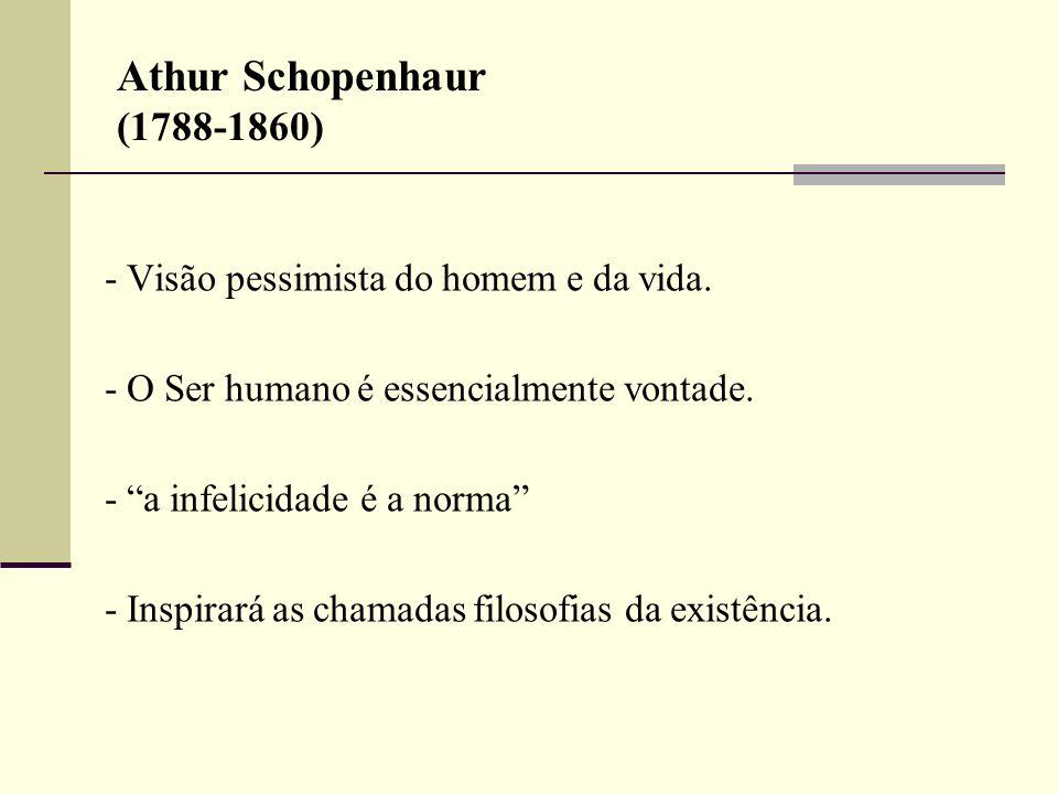 Athur Schopenhaur (1788-1860) - O Ser humano é essencialmente vontade.