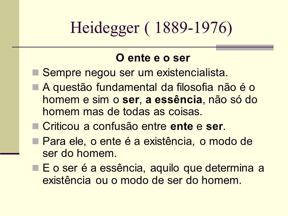 Heidegger ( 1889-1976) O ente e o ser