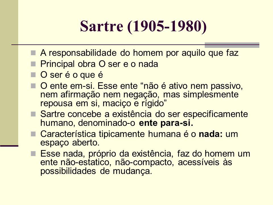 Sartre (1905-1980) A responsabilidade do homem por aquilo que faz