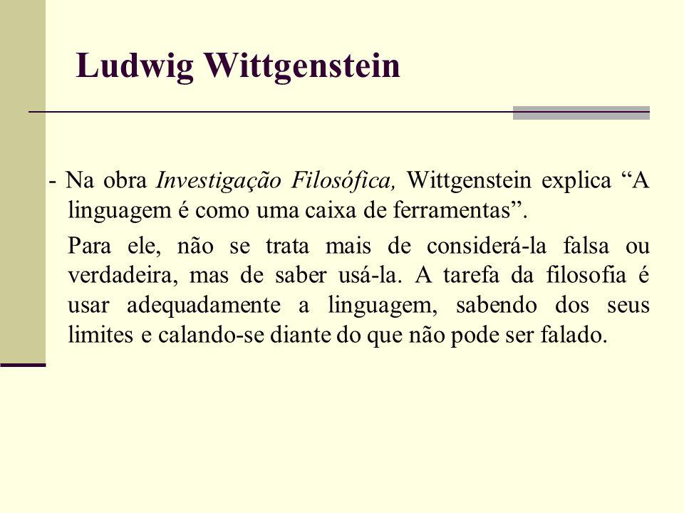 Ludwig Wittgenstein- Na obra Investigação Filosófica, Wittgenstein explica A linguagem é como uma caixa de ferramentas .
